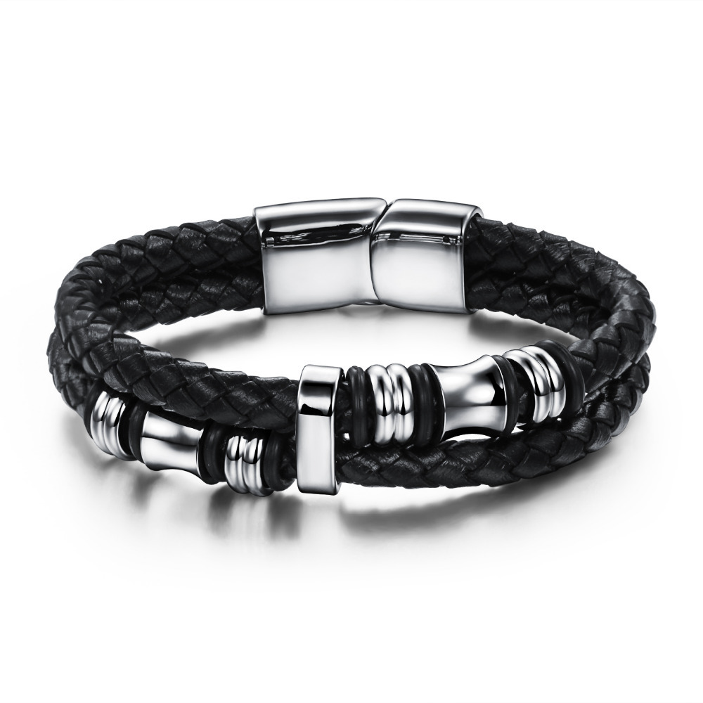 Black Double Layer Braided Leather Bracelet Men Stainless ...
