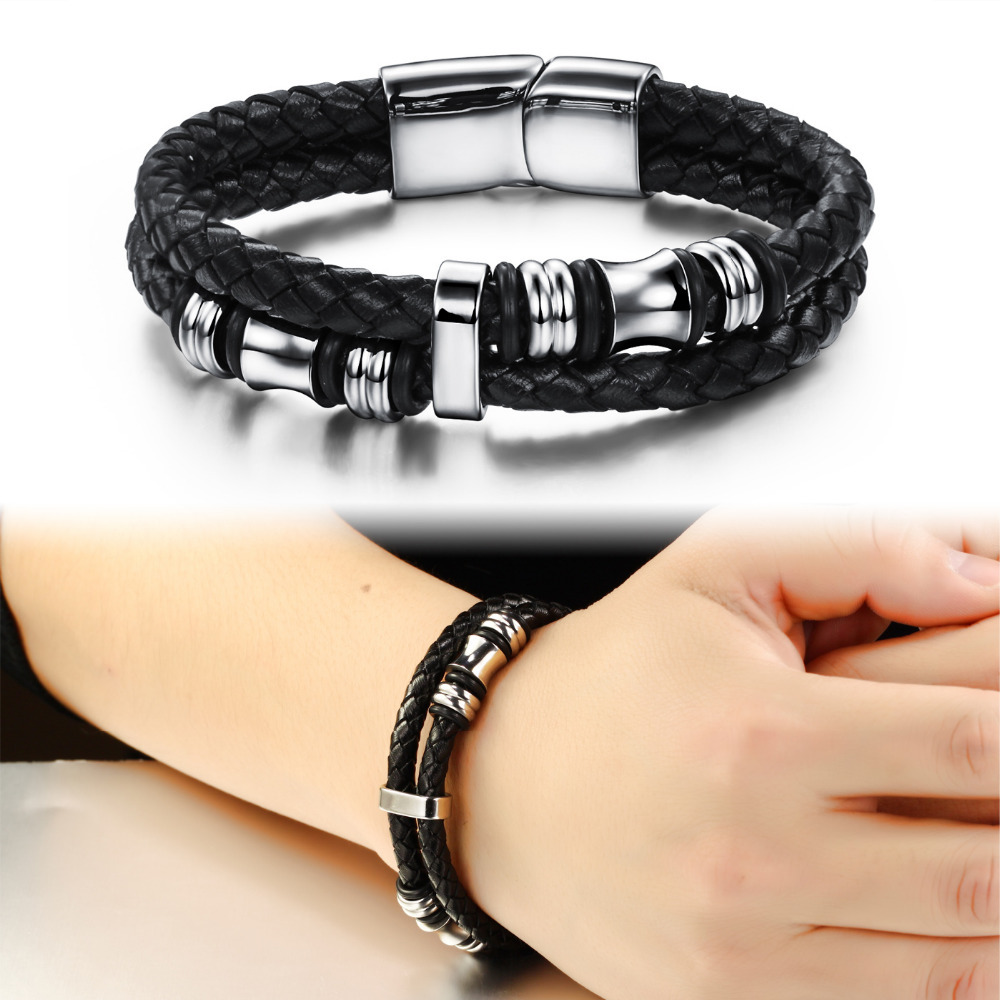 Black Double Layer Braided Leather Bracelet Men Stainless Steel Silver Bracelets Bangles With Magnetic Buckle 911 Kwn