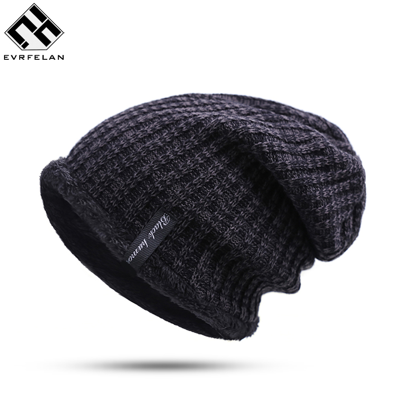 Winter Hat For Man Skullies Beanies Solid Knitted Hat Warm Cap Men Beanies Cap