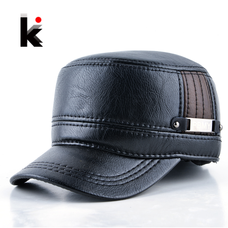 Mens Leather Cap with Ear Flaps Russia Flat top caps for men - KWNSHOP 64d6b3b38a8