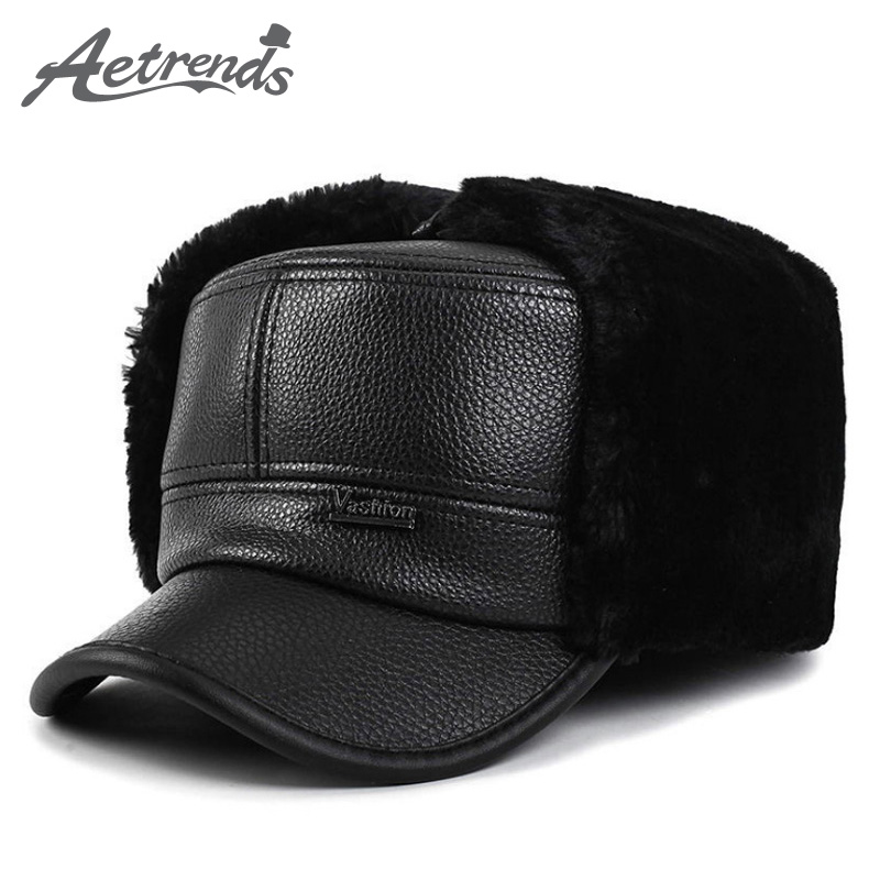 Leather Flat Hat with Ears Flaps - KWNSHOP 47d00f809ab