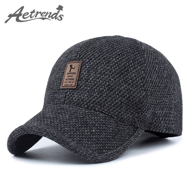 Woolen Knitted Baseball Cap Men Thicken Warm Hats with Earflaps Z-5 -  KWNSHOP 7ba3640f030