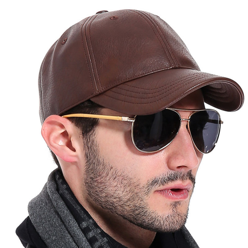 8e46c5684c2ee PU Leather Baseball Cap Men Z-2658 - KWNSHOP