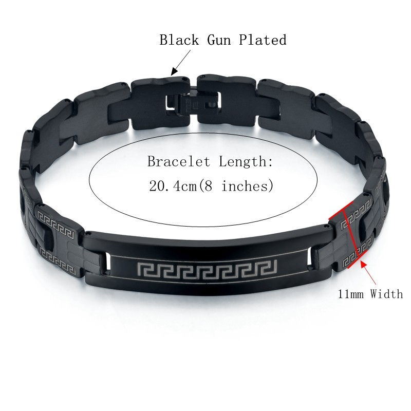 steel masculine satin dp s men bracelet jewelry black com mens l chain amazon curb stainless finishing