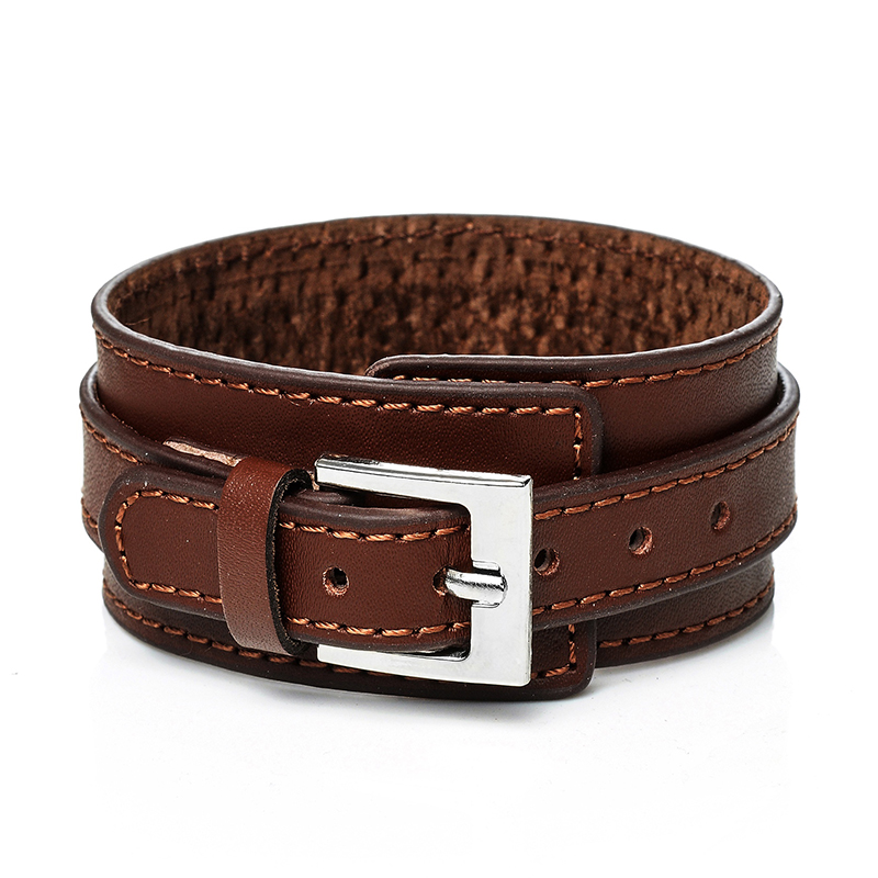 Jiayiqi Genuine Leather Bracelet Men Vintage Wide Cuff ...