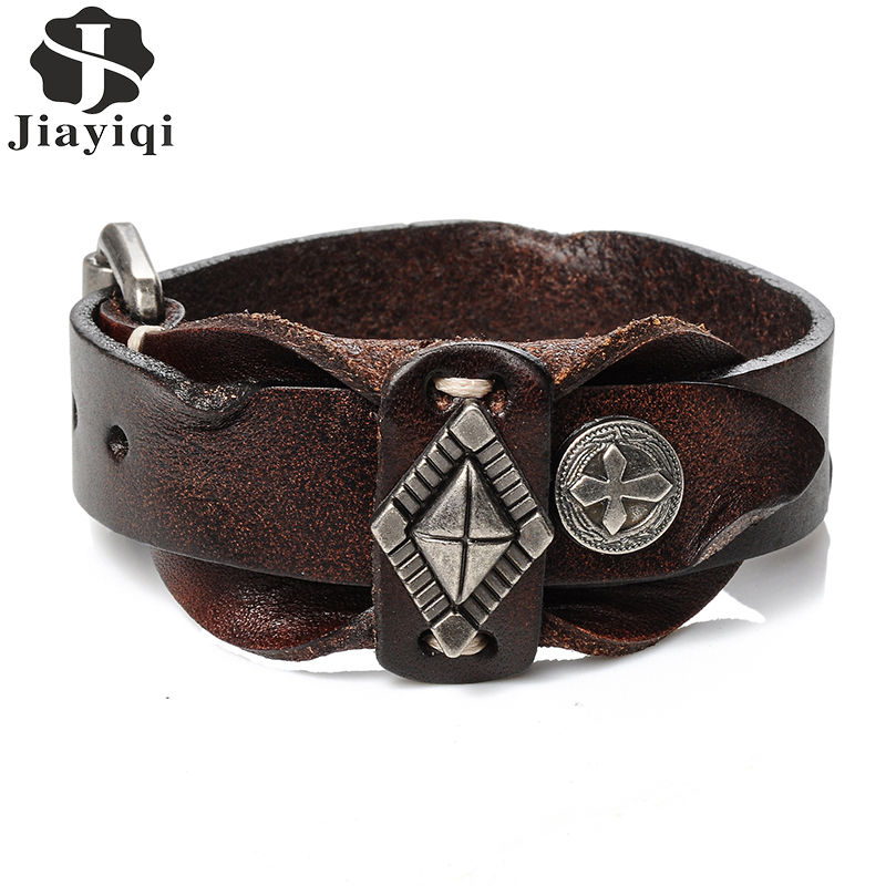 Vintage Cuff Leather Bracelet for Men Wristband Double ...