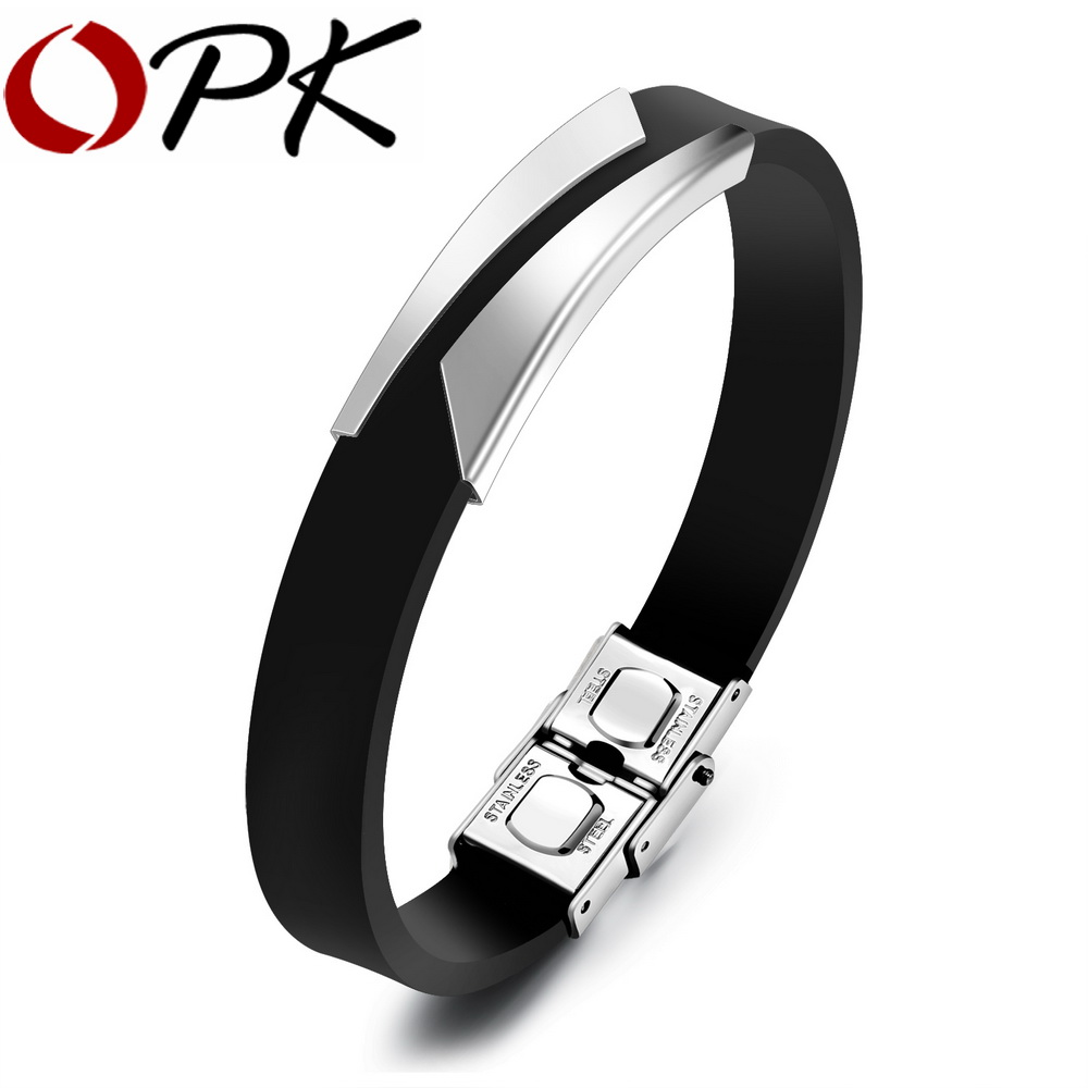 OPK Fashion Silicone Men's Bracelets Unique Cutting Hollow Design Length Adjustable ...