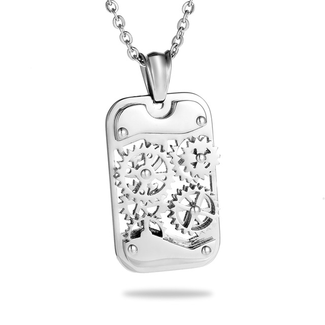 Stainless steel titanium steampunk necklace pendant gear square stainless steel titanium steampunk necklace pendant gear square mechanical necklace men jewelry kwnshop mozeypictures Image collections