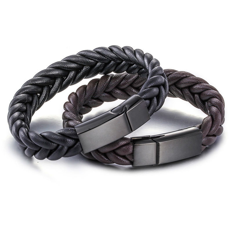 Trustylan Men Leather Wristband Vintage Mens Bracelets With Stainless Steel Magnetic Clasp Bracelet Kwn