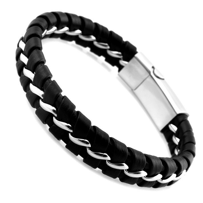 316l Stainless Steel Bracelet Black Leather Knitted