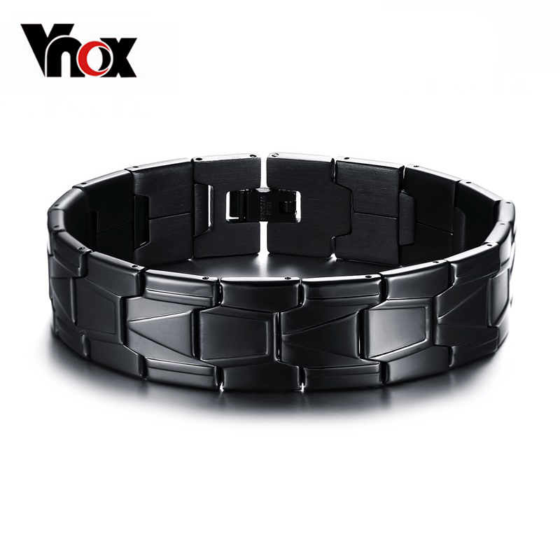 Vnox Stainless Steel Men Jewelry Black Color Bracelet