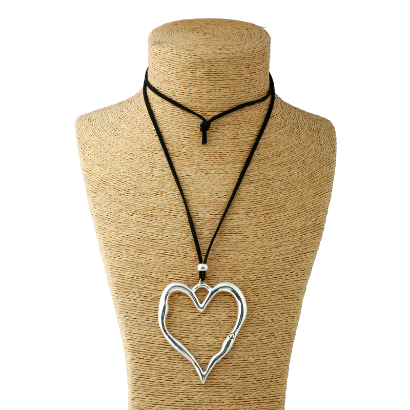 Large Abstract Alloy Heart Pendant Necklace
