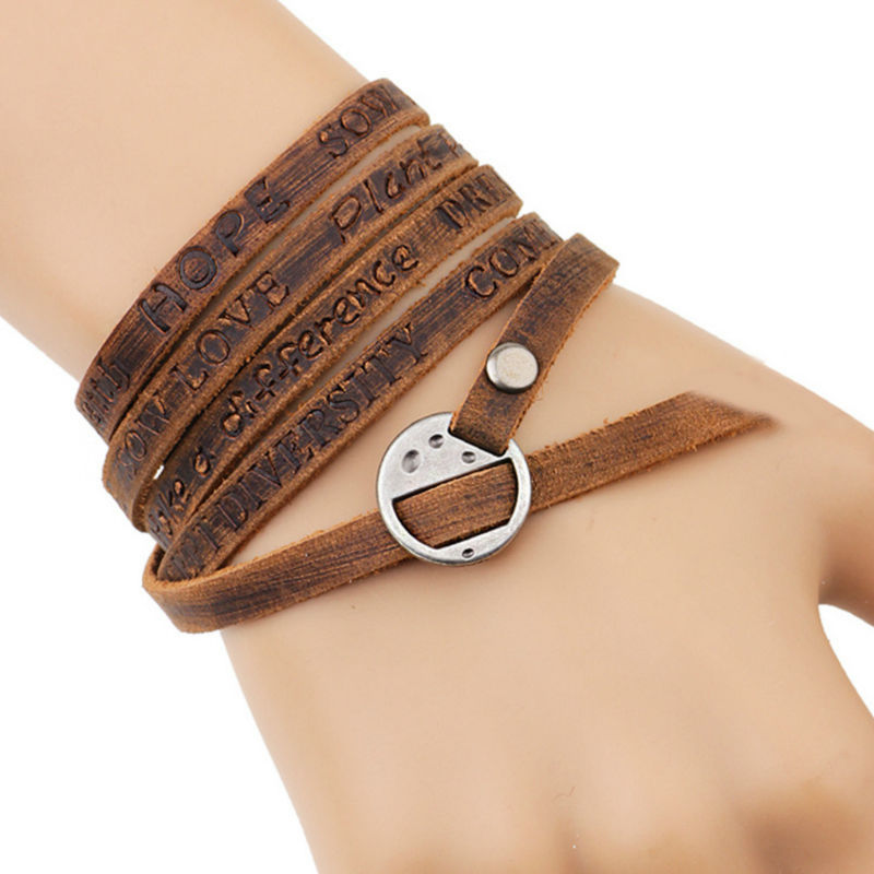 Men Women Leather Wrap Bracelet Multilayer Kwn