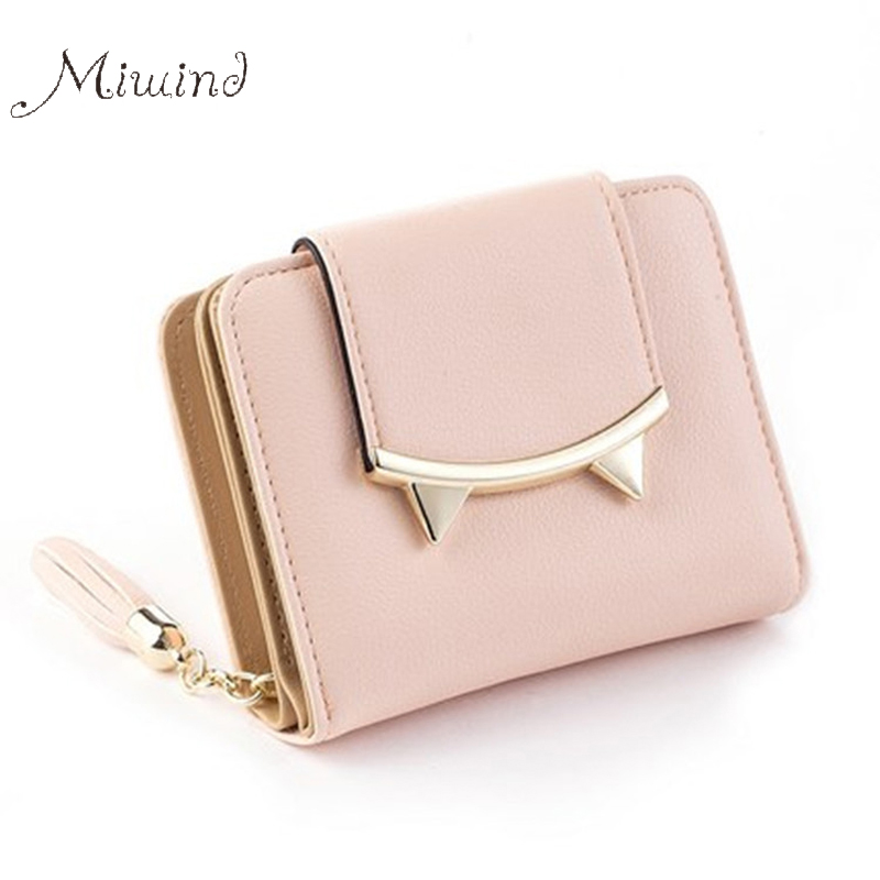 Cat Leather Trifold Slim Mini Wallet