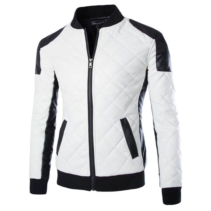 Slim Plaid Leather Mens Bomber Jacket Black/White