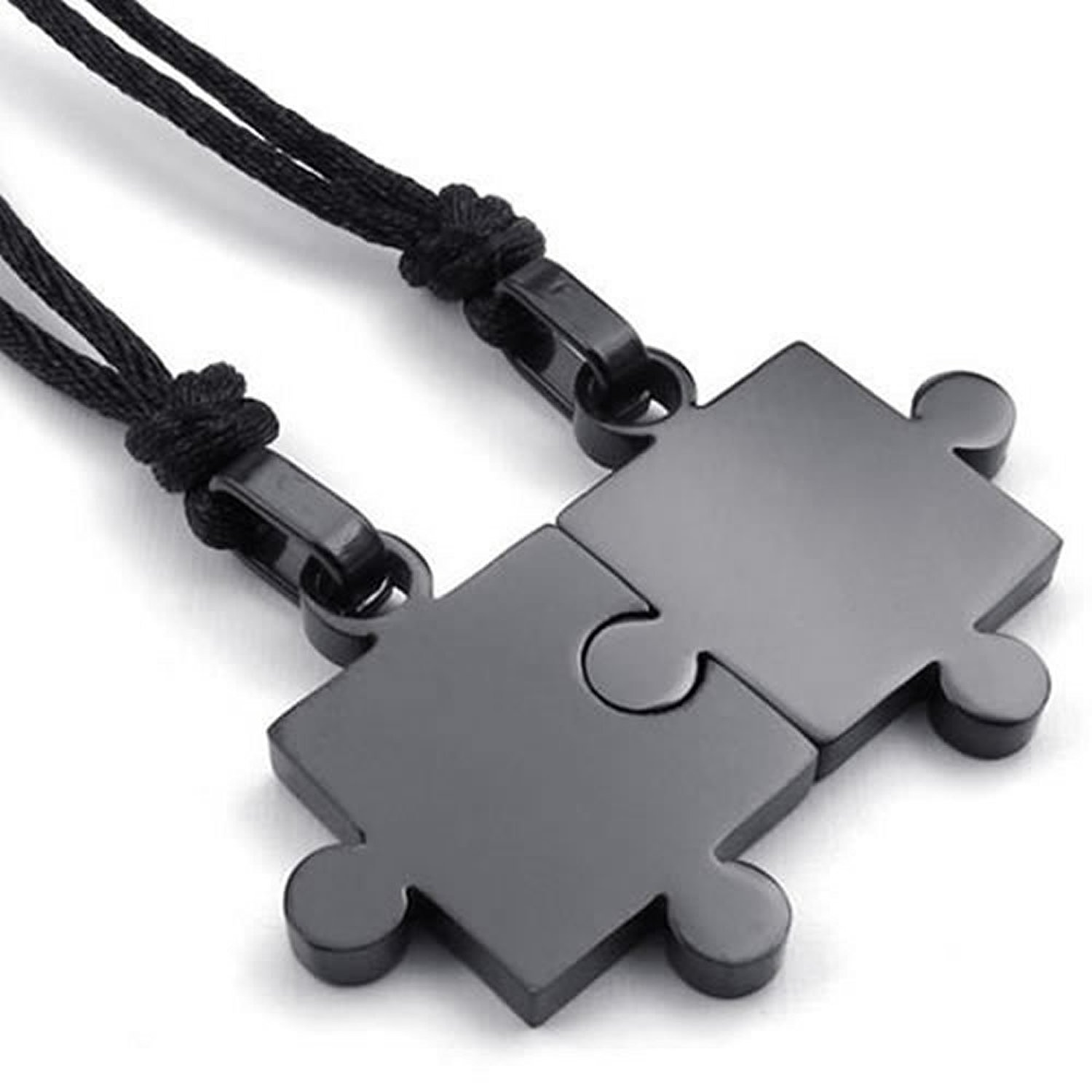 2pcs Couples Stainless Steel Puzzle Pendant Necklace