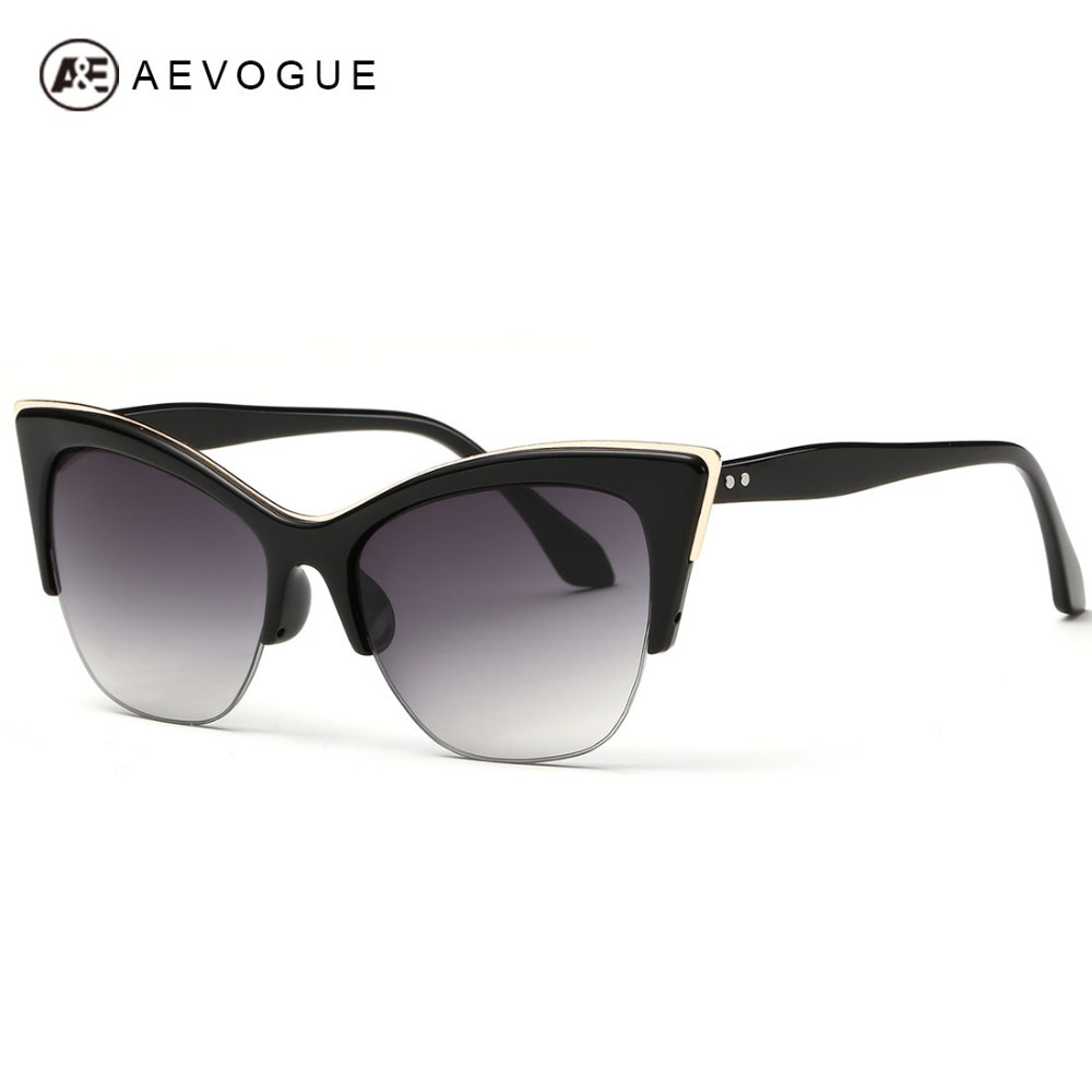 AVE Half-Frame Cat Eye Sunglasses