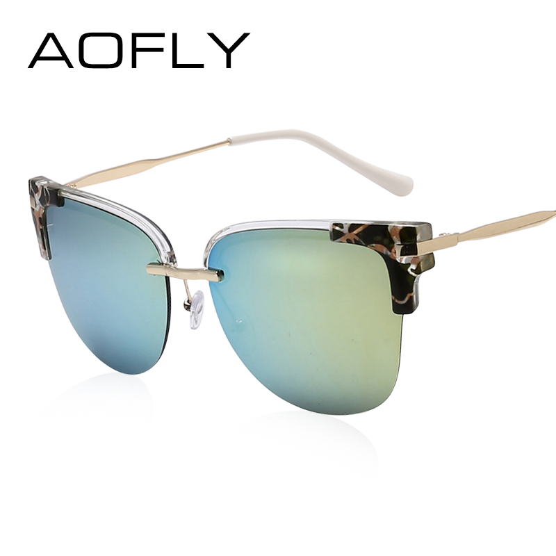 AOF Cat Eye Sunglasses Women Semi-Rimless Sunglasses