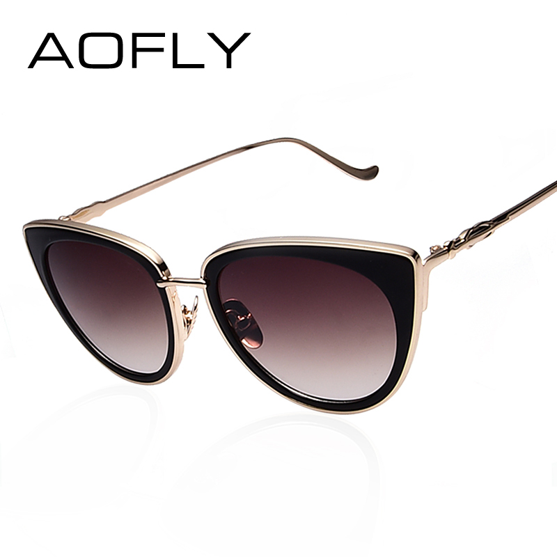 AO Metal Frame Cat Eye Women Sunglasses