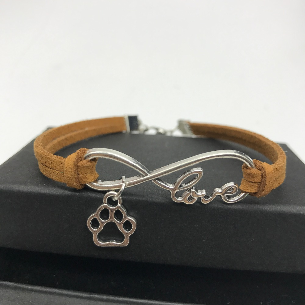 Paw Leather Rope Chain Wrap Bracelets For Women