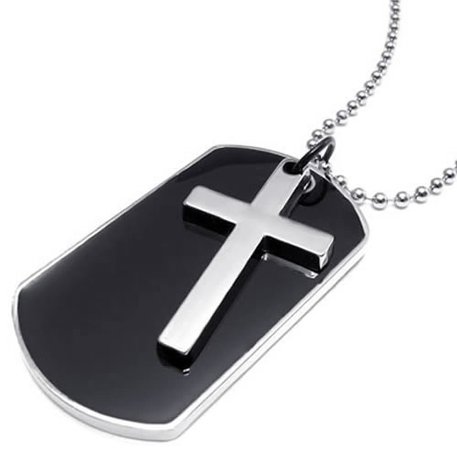 Dog Tag & Cross Necklace