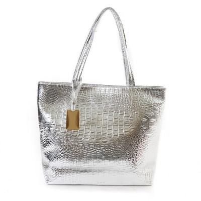 31d3e764f6 Silver Gold Black Crocodile Leather Big Tote Bag - KWNSHOP