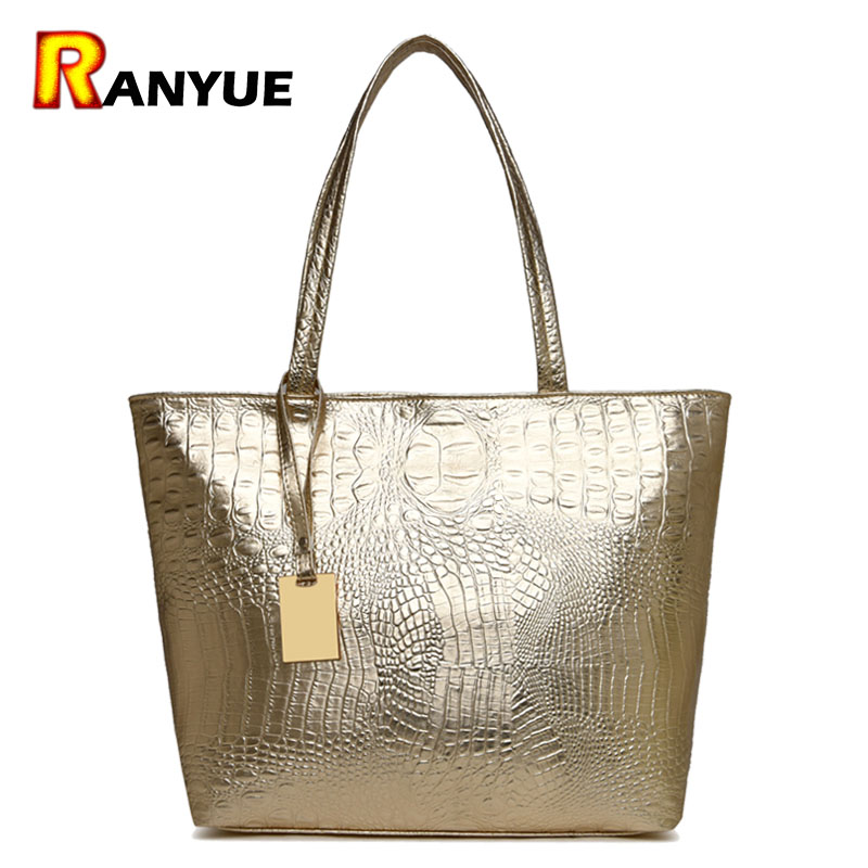 Silver Gold Black Crocodile Leather Big Tote Bag
