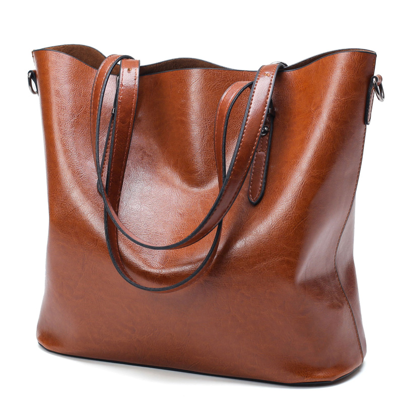 Oil Waxed Leather Women Large Tote Bag