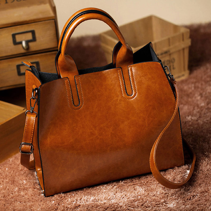 Leather Big Casual Womens Trunk Tote Bag - KWNSHOP e54ee75f74944