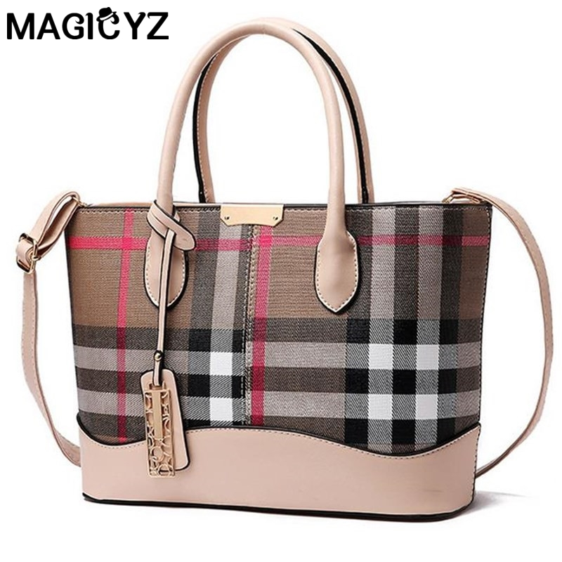 Classic Lattice Print Women Handbag