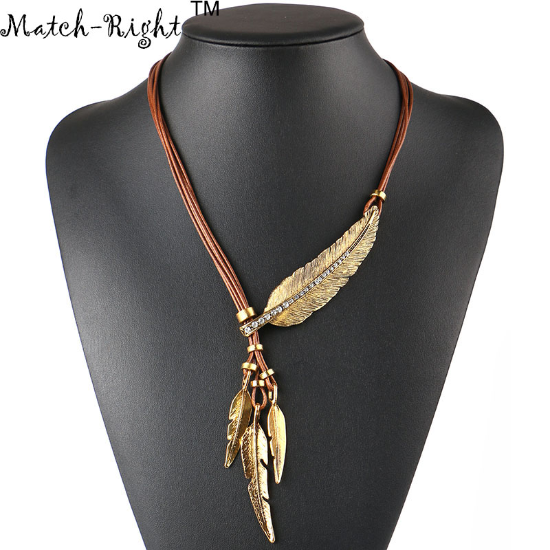 Alloy Feather Statement Necklace