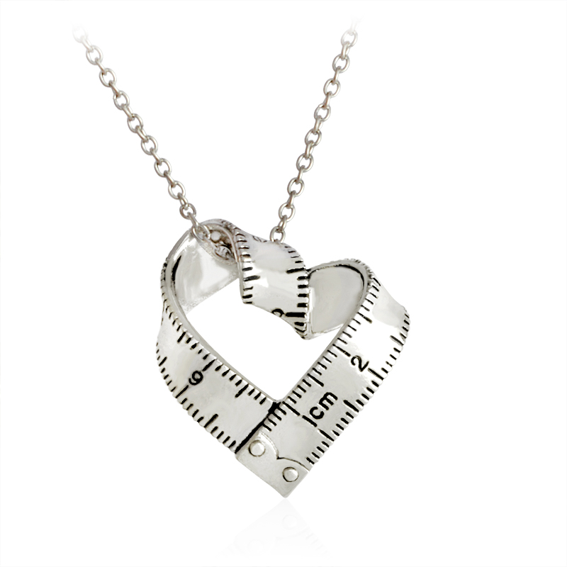 Twisted Heart Shaped Measuring Tape Ruler Pendant Necklace