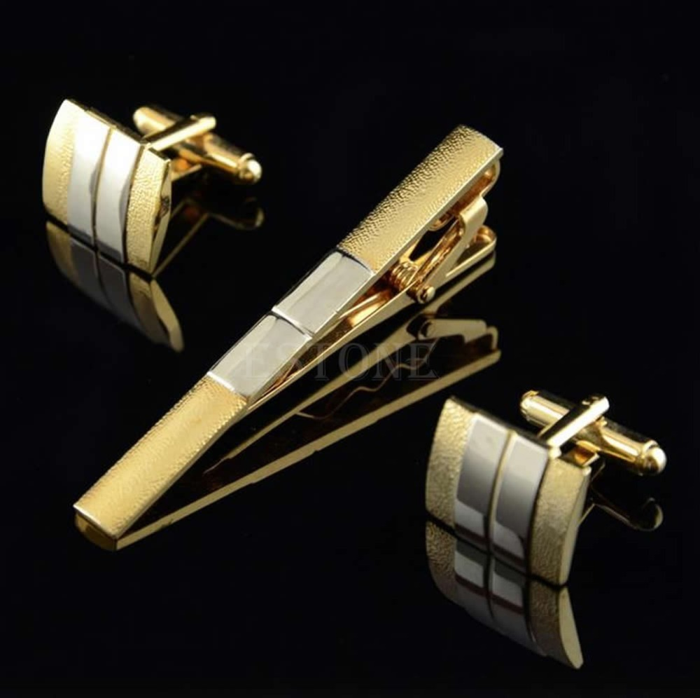 Gold Metal Necktie Tie Bar & Cufflinks Set