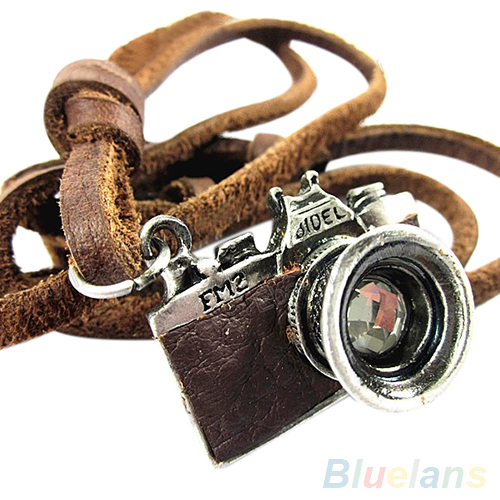 Camera Pendant Genuine Leather Necklace