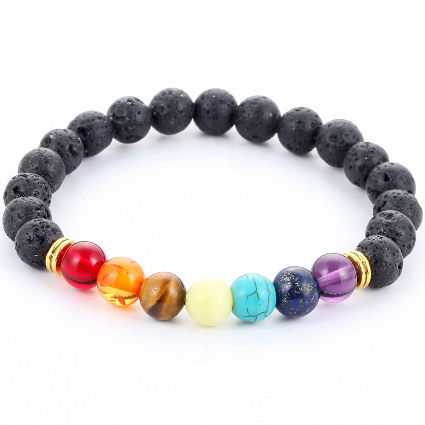 Black Lava Multi Color Beads Bracelet