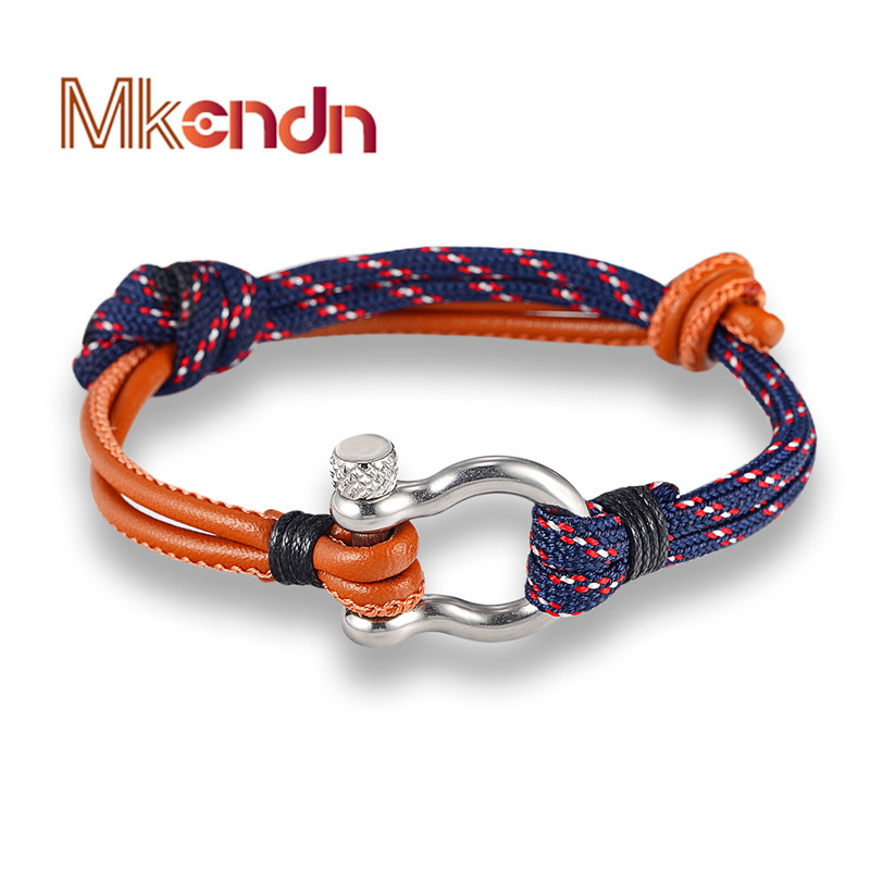Parachute Cord Bracelet with Stainless Steel Shackle Buckle