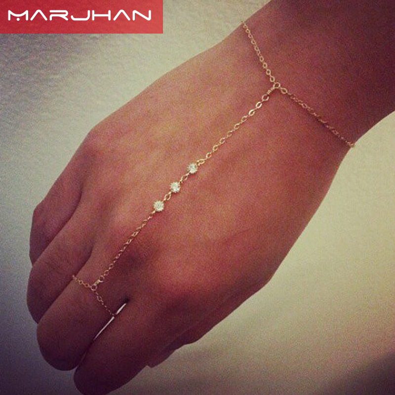 Finger Chain Zircon Crystal Bracelet