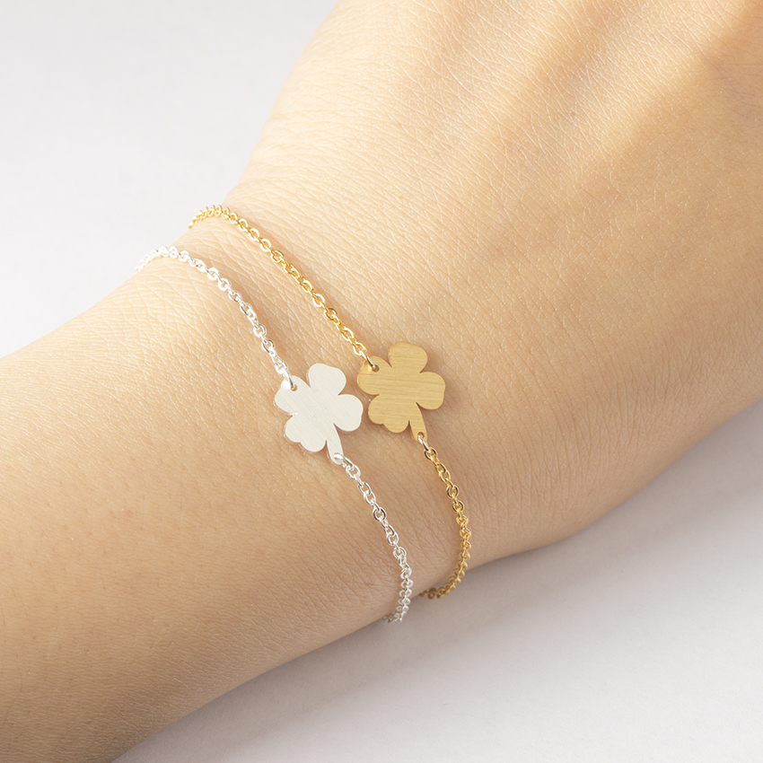 Stainless Steel Lucky Charm 4-Leaf Clover Irish Good Luck Bracelet