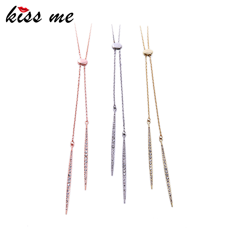 Gold Silver Rose Gold Color Alloy Long Necklace