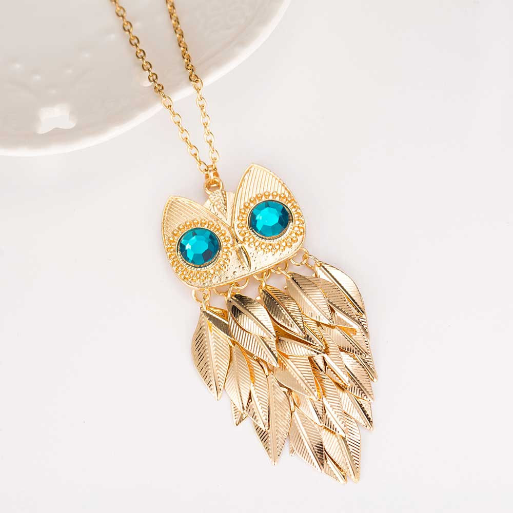 Owl Charm Gold Leaves Chain Necklace