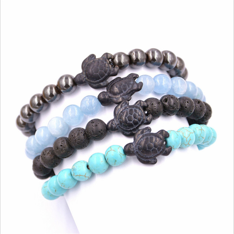Sea Turtle Lava Stone Beads Bracelet