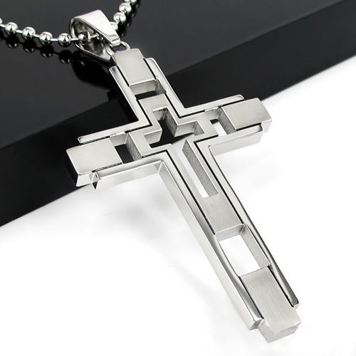 Silver Stainless Steel Cross Pendant Necklace