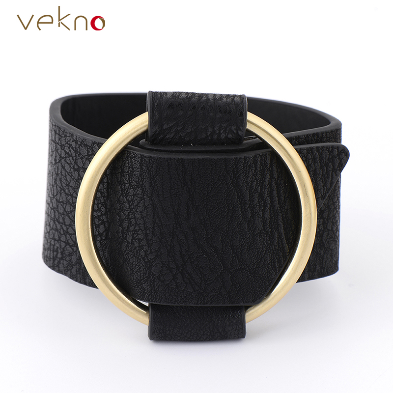 VEKNO Black Wristband Leather Bracelet For Women