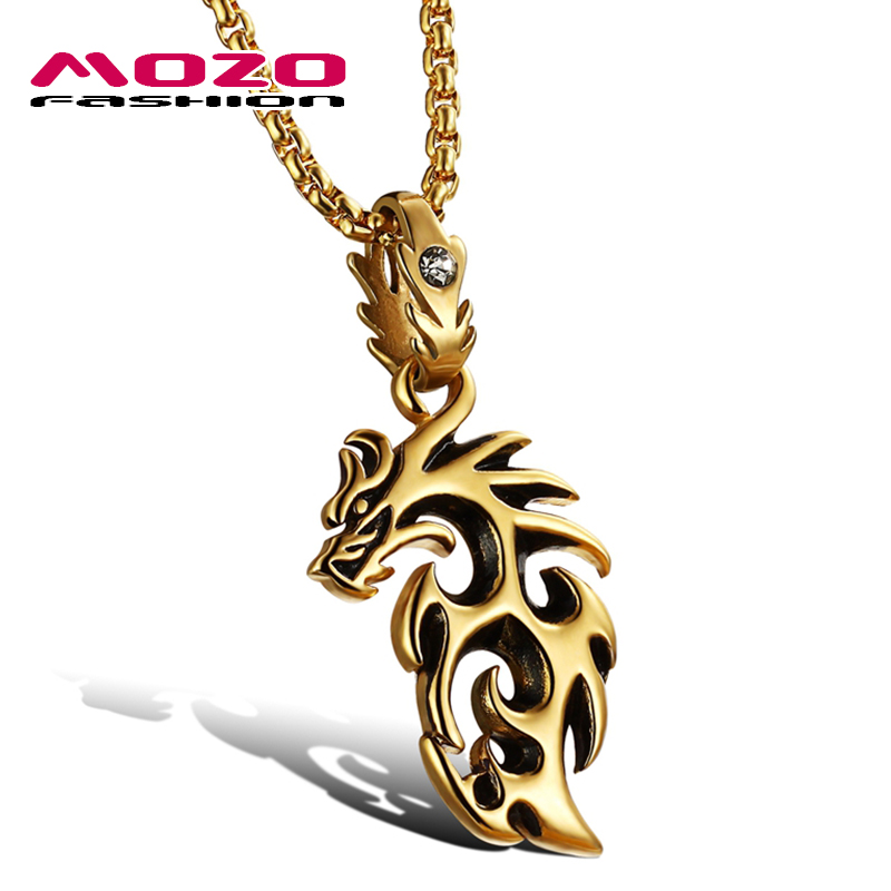 Stainless Steel Silver/Gold Dragon Pendant Necklace