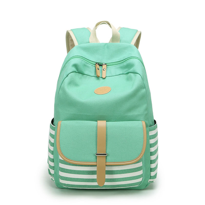 Canvas Striped Feminine Backpack