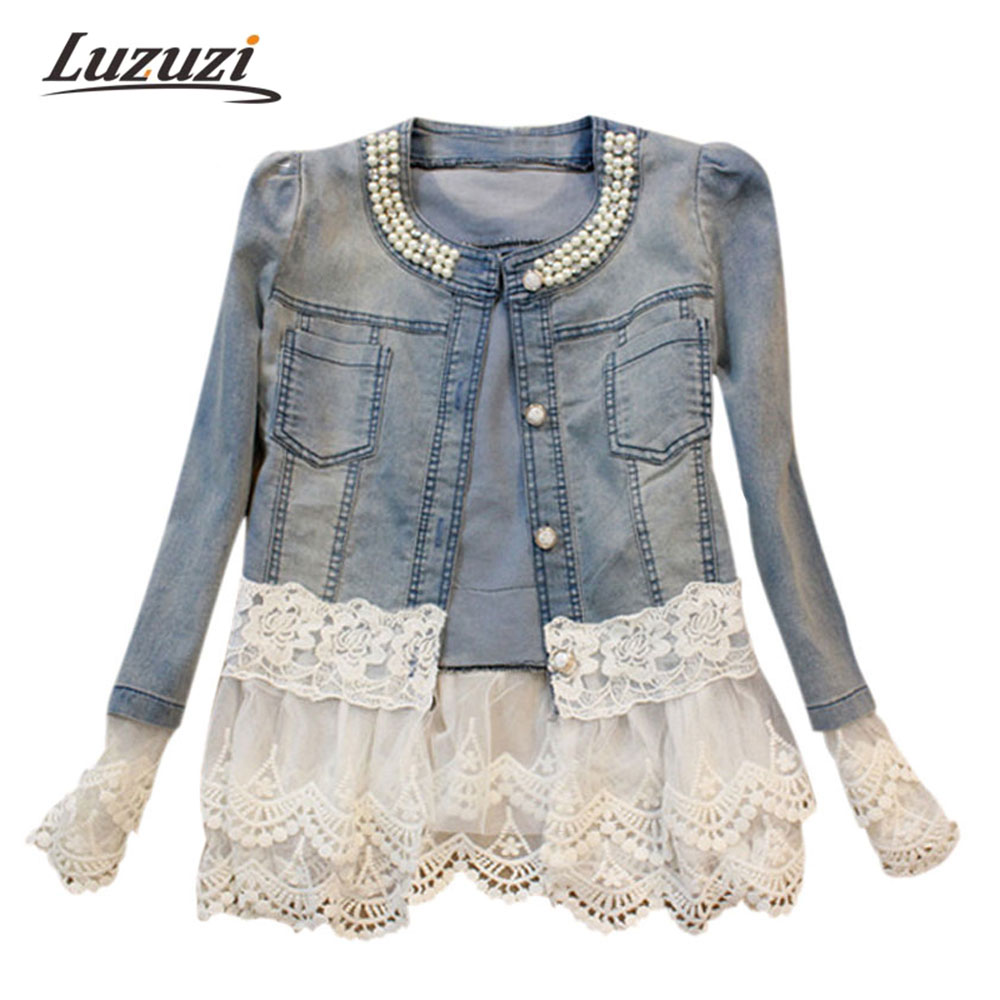 Long Sleeve Lace Denim Jacket
